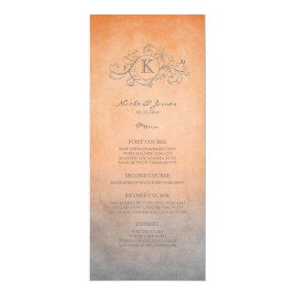 Rustic Orange and Grey Bohemian Wedding Menu Card