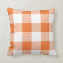 Rustic Orange and White Buffalo Check Plaid Throw Pillow