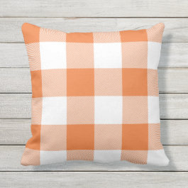 Rustic Orange and White Buffalo Check Plaid Throw Pillow
