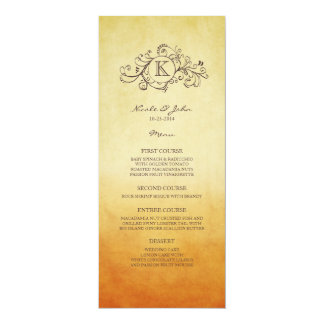 Rustic Orange and Yellow Bohemian Wedding Menu Card
