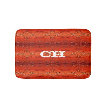 Aztec Themed Rustic Orange Aztec Stripes Pattern Monogram Bathroom Mat