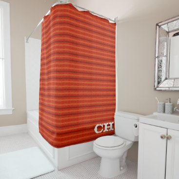 Aztec Themed Rustic Orange Aztec Stripes Pattern Monogram Shower Curtain