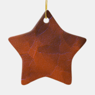 Rustic Orange Brown Blue Hightlights Abstract Art Ceramic Ornament