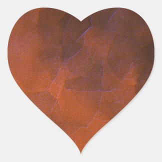 Rustic Orange Brown Blue Hightlights Abstract Art Heart Sticker