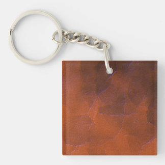 Rustic Orange Brown Blue Hightlights Abstract Art Keychain