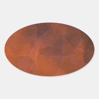Rustic Orange Brown Blue Hightlights Abstract Art Oval Sticker