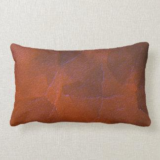 Rustic Orange Brown Blue Hightlights Abstract Art Throw Pillow