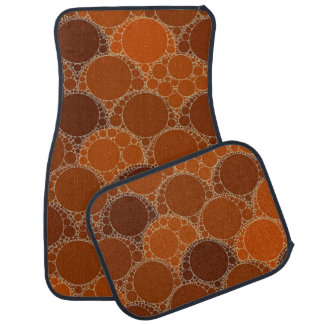 Rustic Orange Brown Circle Abstract Car Mat