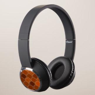 Rustic Orange Brown Circle Abstract Headphones