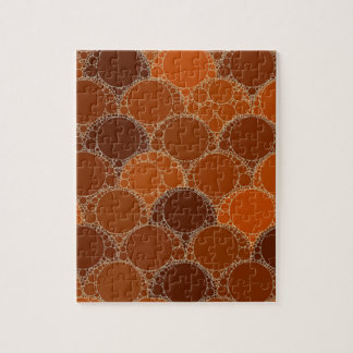 Rustic Orange Brown Circle Abstract Jigsaw Puzzle