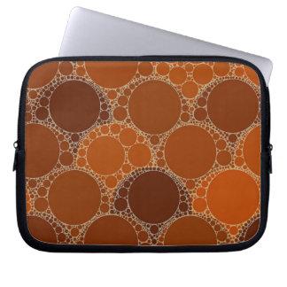 Rustic Orange Brown Circle Abstract Laptop Sleeve