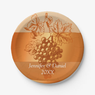 Rustic Orange Custom Wine Label Style Fall Wedding Paper Plate