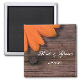 Rustic Orange Daisy and Barn Wood Country Wedding 2 Inch Square Magnet