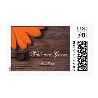 Rustic Orange Daisy and Barn Wood Country Wedding Postage