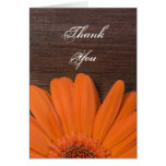 Rustic Orange Daisy and Barn Wood Thank You Note Greeting Card