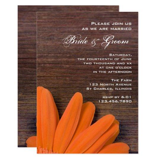 Rustic Orange Daisy and Barn Wood Wedding Invite
