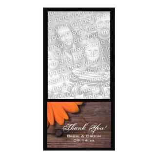 Rustic Orange Daisy Barn Wood Country Thank You Card