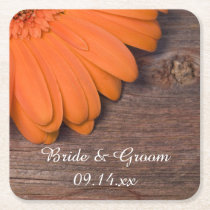 Rustic Orange Daisy Barn Wood Country Wedding Square Paper Coaster