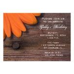 Rustic Orange Daisy Birthday Party Invitation