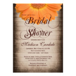 Rustic Orange Daisy Bridal Shower Invitations