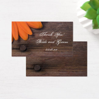 Rustic Orange Daisy Country Barn Wedding Favor Tag