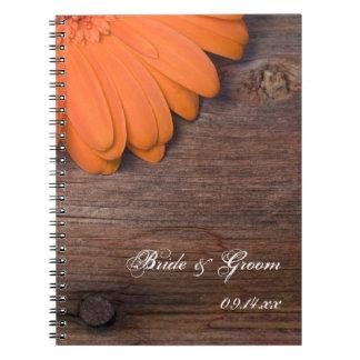 Rustic Orange Daisy Country Barn Wood Wedding Spiral Note Book