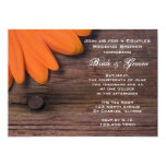 Rustic Orange Daisy Country Couples Wedding Shower Custom Invitations