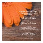 Rustic Orange Daisy Country Rehearsal Dinner Custom Invitation