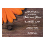 Rustic Orange Daisy Country Rehearsal Dinner Personalized Invitation