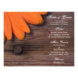 Rustic Orange Daisy Country Wedding Menu Flyer