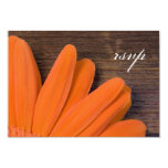 Rustic Orange Daisy Country Wedding Response Card Personalized Invites
