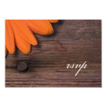 Rustic Orange Daisy Country Wedding Response Card Announcements