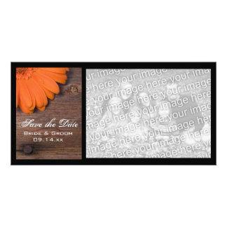 Rustic Orange Daisy Country Wedding Save the Date Custom Photo Card