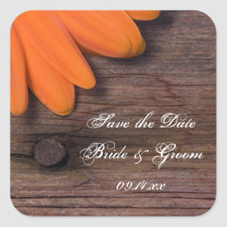 Rustic Orange Daisy Country Wedding Save the Date Square Sticker