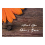 Rustic Orange Daisy Country Wedding Thank You Note 3.5x5 Paper Invitation Card