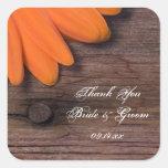 Rustic Orange Daisy Country Wedding Thank You Sticker