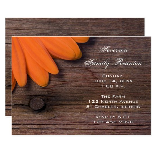 Rustic Orange Daisy Family Reunion Invitation
