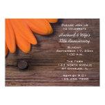 Rustic Orange Daisy Wedding Anniversary Party Personalized Invitations
