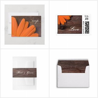 Rustic Orange Daisy Wedding Stationery