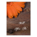 Rustic Orange Daisy Will You Be My Bridesmaid Card