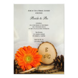 Rustic Orange Daisy Woodland Bridal Shower Personalized Announcement