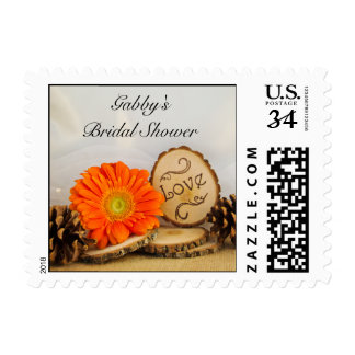 Rustic Orange Daisy Woodland Bridal Shower Postage