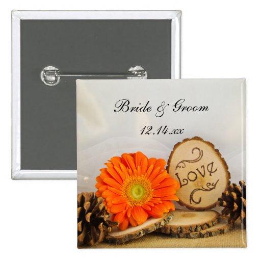 Rustic Orange Daisy Woodland Wedding Button