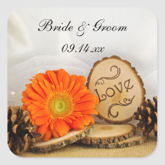 Rustic Orange Daisy Woodland Wedding Envelope Seal