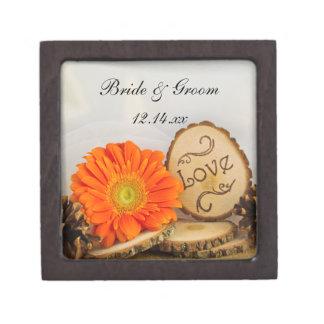 Rustic Orange Daisy Woodland Wedding Gift Box Premium Jewelry Boxes