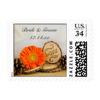 Rustic Orange Daisy Woodland Wedding Love Postage
