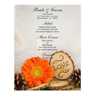 Rustic Orange Daisy Woodland Wedding Menu Flyers