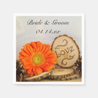 Rustic Orange Daisy Woodland Wedding Napkin