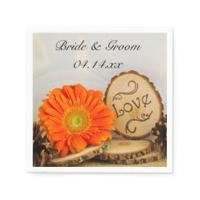 Rustic Orange Daisy Woodland Wedding Paper Napkins