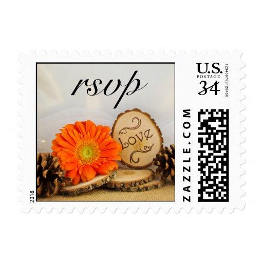 Rustic Orange Daisy Woodland Wedding RSVP Postage